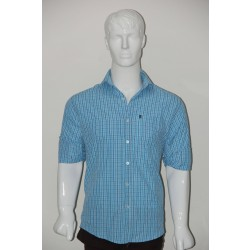 JHE Wrinkle Free Sky Colour Casual Check Shirt Size 40