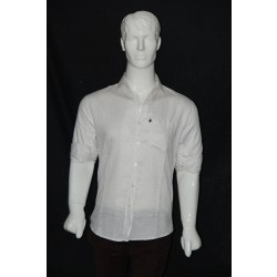 JHE Cotton White Colour Casual Print Shirt Size 40 1