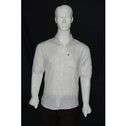 JHE Cotton White Colour Casual Print Shirt Size 38 1