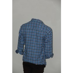 Adam Smith Cotton Sky Blue Colour Casual Check Shirt Size 36 1