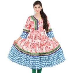 RTF women's Long Anarkali Printed V-Neck Size XL