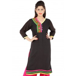RTF Black Rayon Stylish women kurtis Size XL