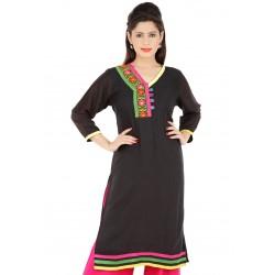 RTF Black Rayon Stylish women kurtis Size XXL