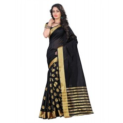 Pearl Fashion Cotton silk black saree with zari work
