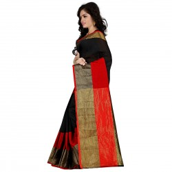 Pearl Fashion Cotton Black and Red Saree