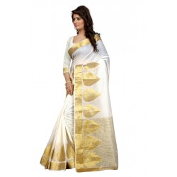 Pearl Fashion White Cotton Saree