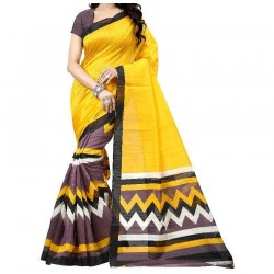 Pearl fashion Yellow Bhagalpuri Saree