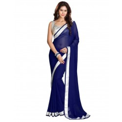 Pearl Fashion Chiffon Saree With Silver Blouse 3
