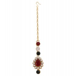 Adoreva Gold Plated Red Green White Alloy Maang Tika for Women 721