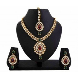 Adoreva Kundan Red Green Indian Bollywood Necklace Earrings Tika Set for Women 426