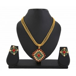 Adoreva Polki Meena Stone Pendant Set For Women 418