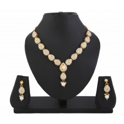 Adoreva White Kundan Necklace Earrings Set for women 413