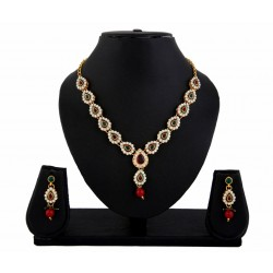 Adoreva Red Green Kundan Necklace Earrings Set for women 412