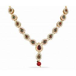 Adoreva Red Green Kundan Necklace Earrings Set for women 412 1
