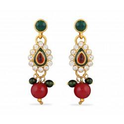 Adoreva Red Green Kundan Necklace Earrings Set for women 412 2