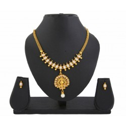 Adoreva Pearl Gold Plated Peacock Necklace Set for Women 406