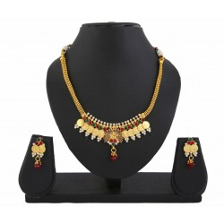 Adoreva Red Green Goddess Laxmi Gold Plated Peacock Necklace Set for Women 405