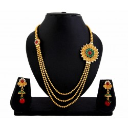 Adoreva Gold Plated 3 string Necklace Earrings Set for Women 403