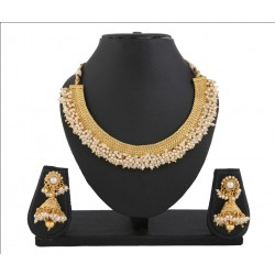 Adoreva Pearl Gold Plated Necklace Earrings Set for Women 400