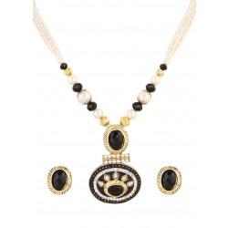 Adoreva Black Pearl Pendant Earrings Set for Women 387 2