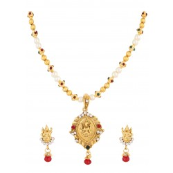 Adoreva Goddess Laxmi Kundan  Gold tone Indain Bollywood Necklace Earrings Set for Women 382