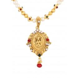 Adoreva Goddess Laxmi Kundan  Gold tone Indain Bollywood Necklace Earrings Set for Women 382 1