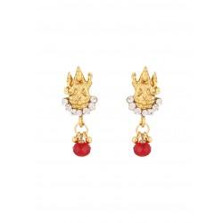 Adoreva Goddess Laxmi Kundan  Gold tone Indain Bollywood Necklace Earrings Set for Women 382 2