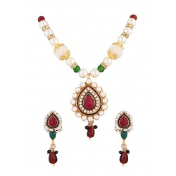Adoreva Red Green Pendant Earrings Set for Women 379