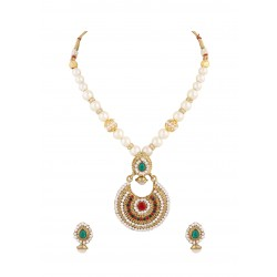 Adoreva Pearl Red Green Indian Pendant Earrings Set for Women 342