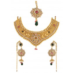 Adoreva Gold Plated Bridal Necklace Earrings Set for Women 339