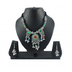 Adoreva Garba Navratri Multi-colour Necklace Earrings Set for women 336