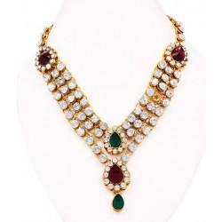 Adoreva Bridal 3 line Red Green Necklace Earrings Set for Women 305 2