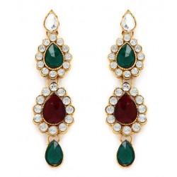 Adoreva Bridal 3 line Red Green Necklace Earrings Set for Women 305 3