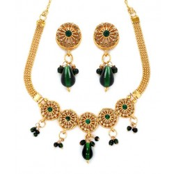 Adoreva Green Kundan Necklace Set for Women 295