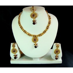 Adoreva Purple Kundan Necklace Earrings Set for Women 261