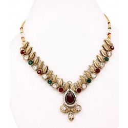 Adoreva Red Green Kundan Necklace Earrings Set for Women 260 1