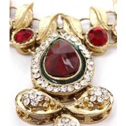 Adoreva Red Green Kundan Necklace Earrings Set for Women 260 3