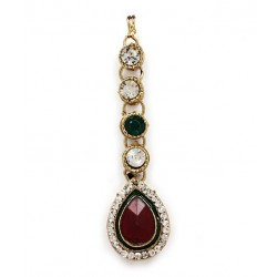 Adoreva Red Green Kundan Necklace Earrings Set for Women 260 4