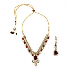 Adoreva Red Kundan Necklace Earrings Set for Women 259 1