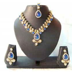 Adoreva Blue Kundan Necklace Earrings Set for Women 258