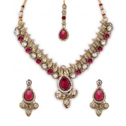 Adoreva Pink Kundan Necklace Earrings Set for Women 257