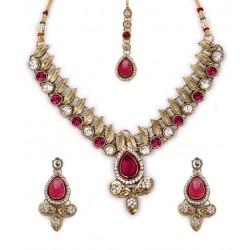 Adoreva Pink Kundan Necklace Earrings Set for Women 257