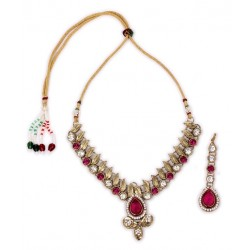 Adoreva Pink Kundan Necklace Earrings Set for Women 257 1