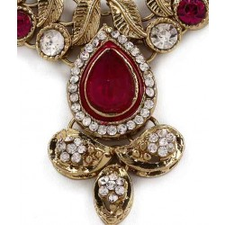 Adoreva Pink Kundan Necklace Earrings Set for Women 257 2
