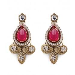 Adoreva Pink Kundan Necklace Earrings Set for Women 257 3