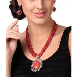 Adoreva Red Statement Necklace Earrings Set for Women 255 1