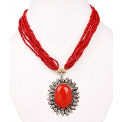Adoreva Red Statement Necklace Earrings Set for Women 255 2