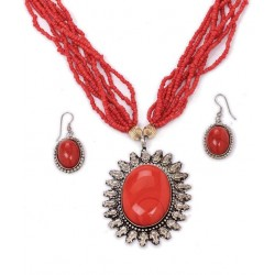 Adoreva Red Statement Necklace Earrings Set for Women 255 3