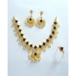 Adoreva Purple Necklace Earrings Ring Set for Women 235