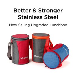 Oliveware Gusto Lunch Box | 4 Steel Containers with Insulated Bag 2